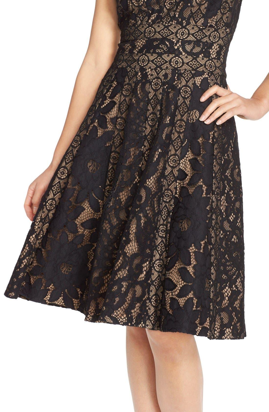 Alternate Image 6  - Tadashi Shoji Mixed Lace Fit & Flare Dress