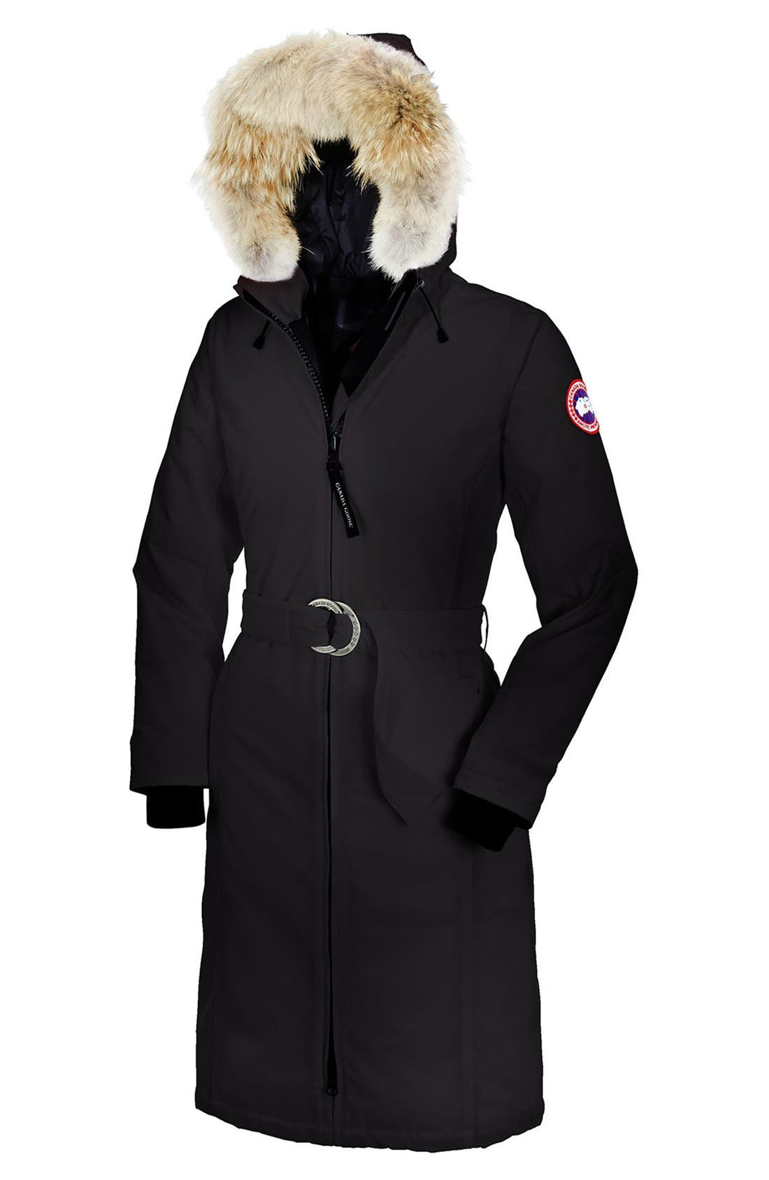 Alternate Image 1 Selected - Canada Goose 'Whistler' Genuine Coyote Fur Trim Slim Fit Belted Long Down Parka