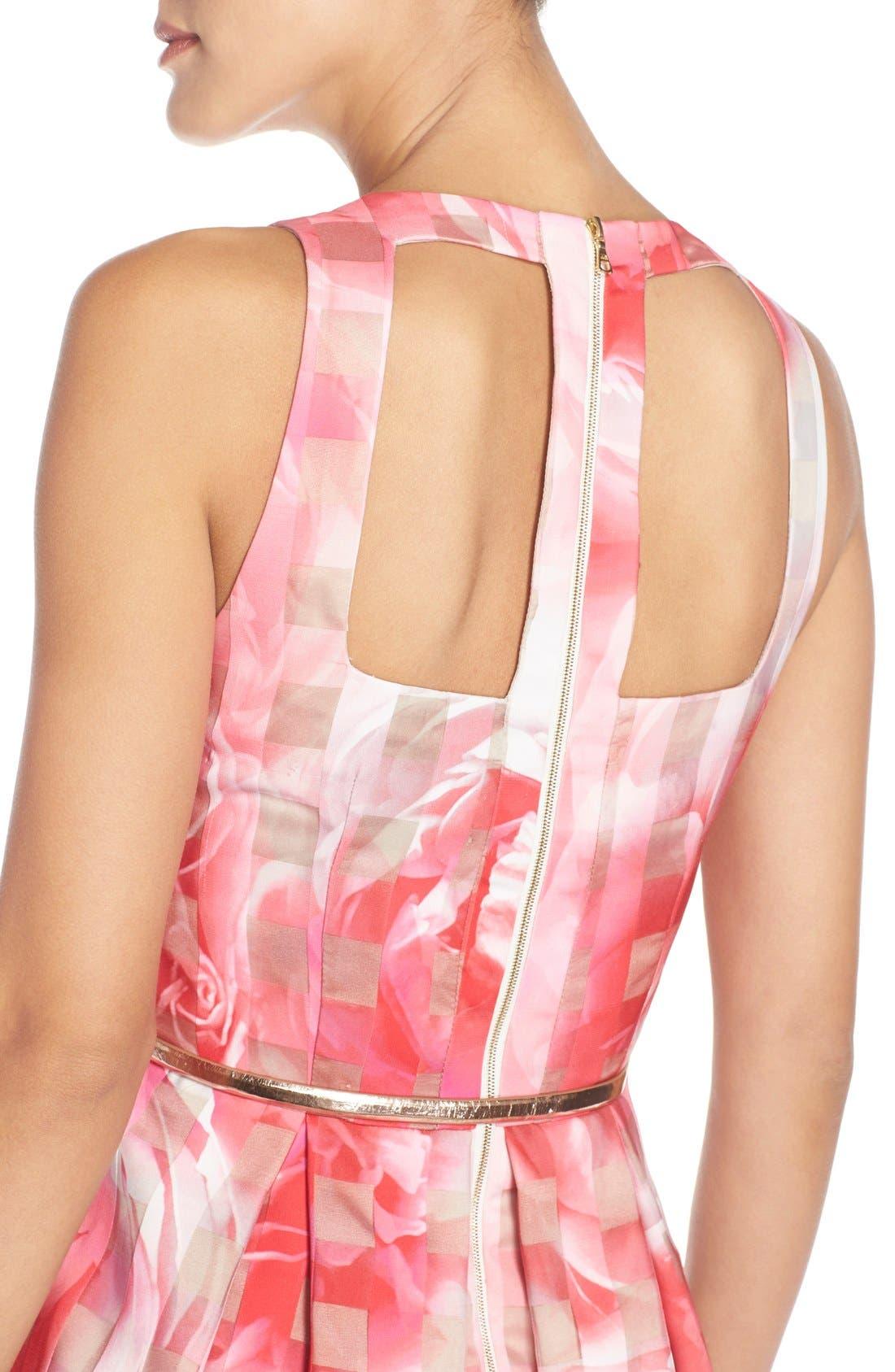 Alternate Image 5  - Eliza J Floral Organza Fit & Flare Dress (Regular & Petite)