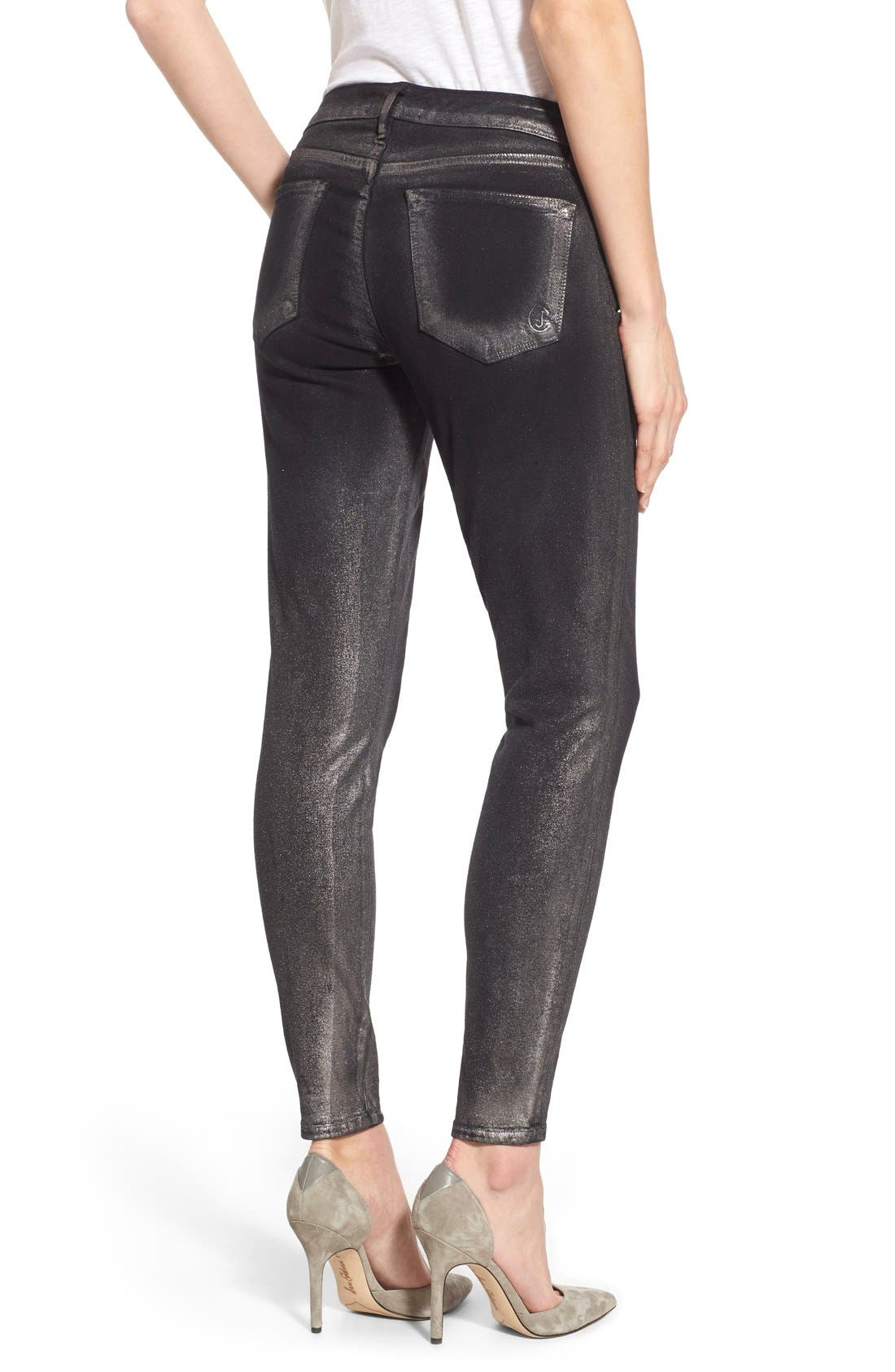Alternate Image 2  - CJ by Cookie Johnson 'Wisdom' Brushed Foil Skinny Jeans (Pewter)