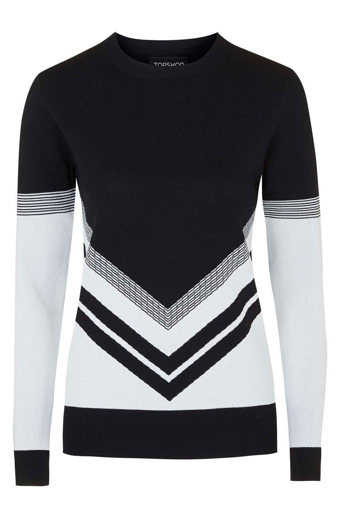 Alternate Image 4  - Topshop Chevron Colorblock Sweater