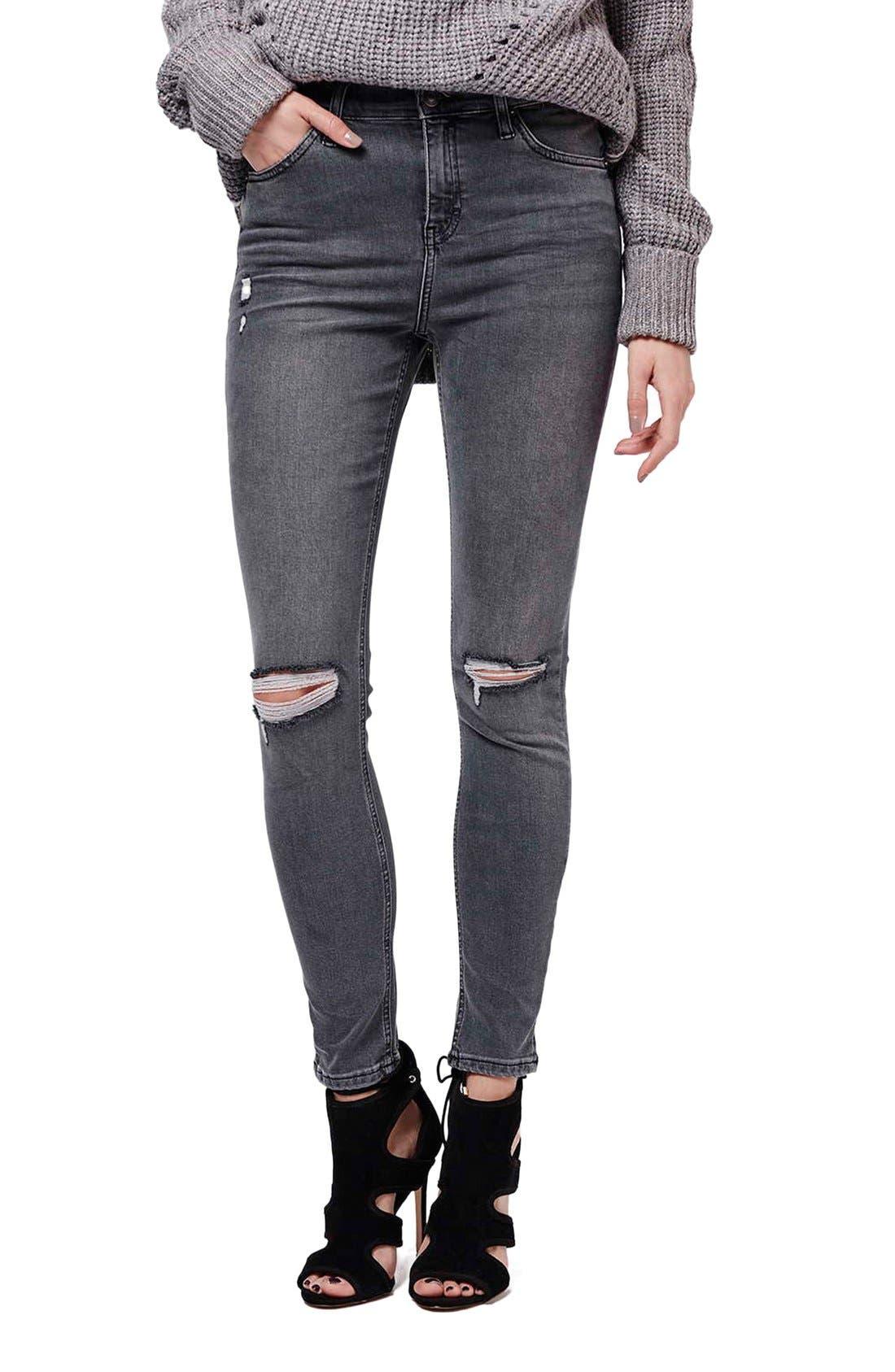 Main Image - Topshop 'Jamie' Ripped Skinny Jeans (Grey)