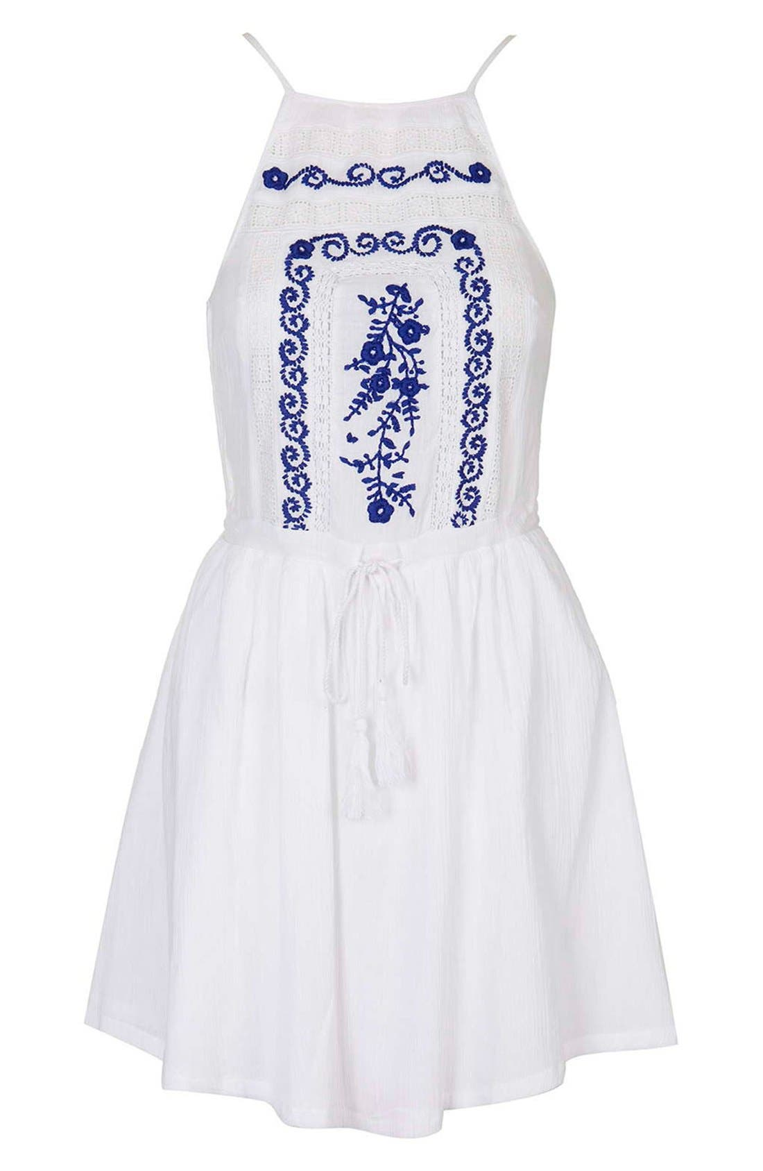 Alternate Image 4  - Topshop 'Claud' Embroidered Sleeveless Sundress Cover-Up