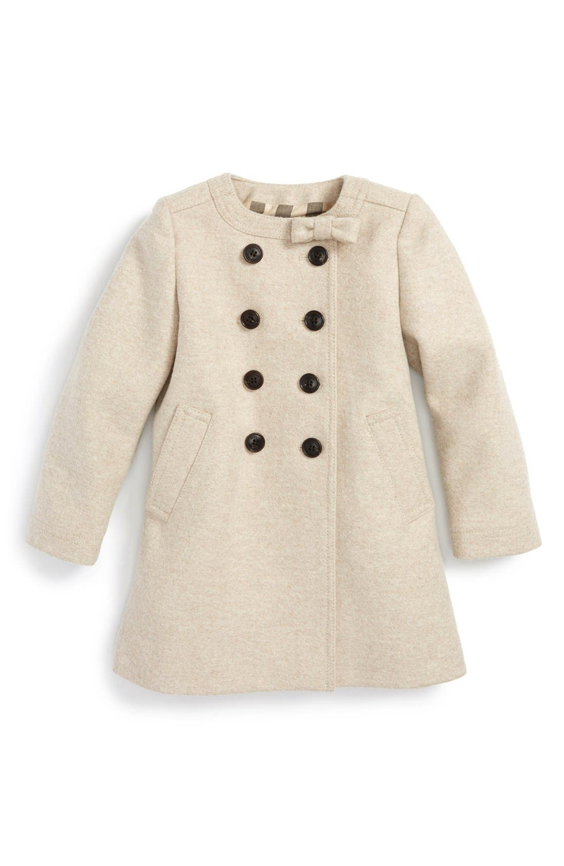 Main Image - Burberry 'Rose' Wool Blend A-Line Coat (Baby Girls)