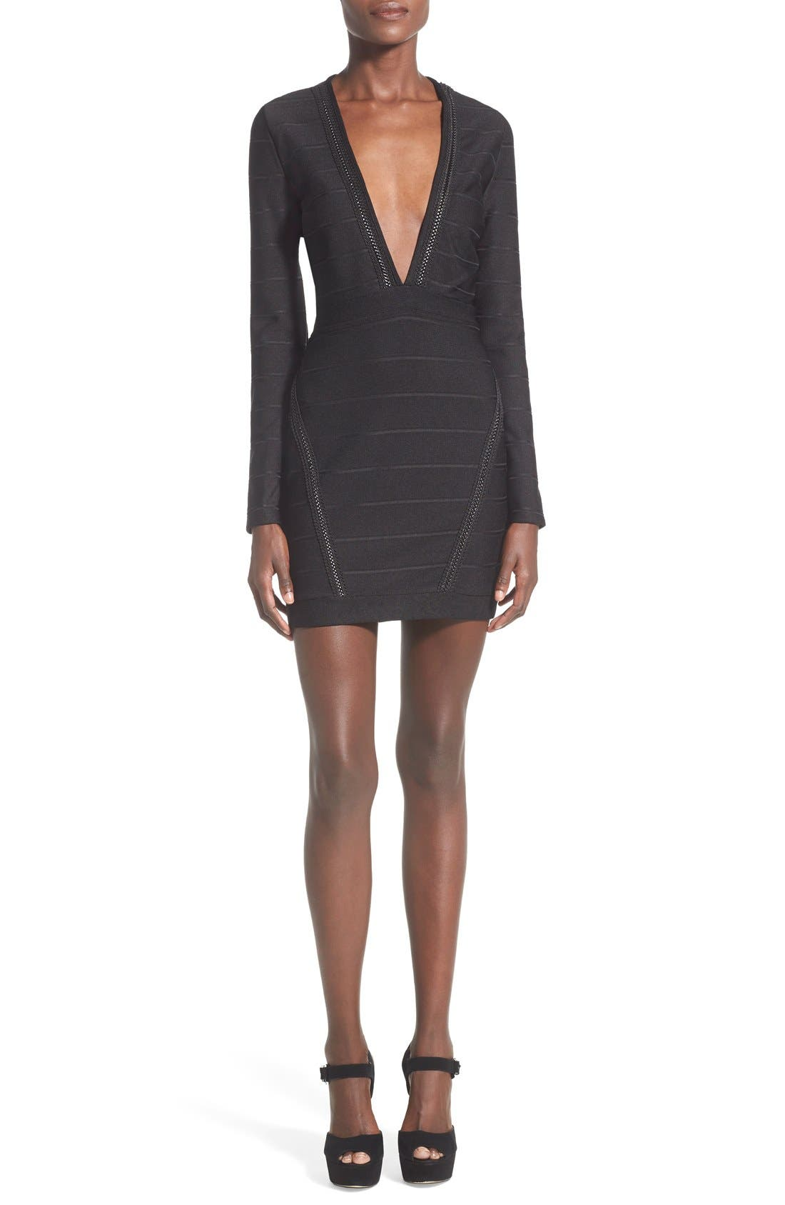 Alternate Image 1 Selected - Missguided Plunge Neck Body-Con Dress