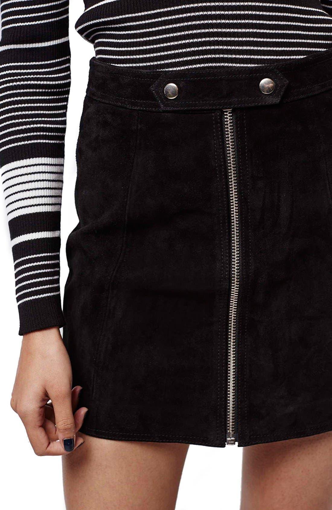 Alternate Image 5  - TopshopButton TabSuede Skirt