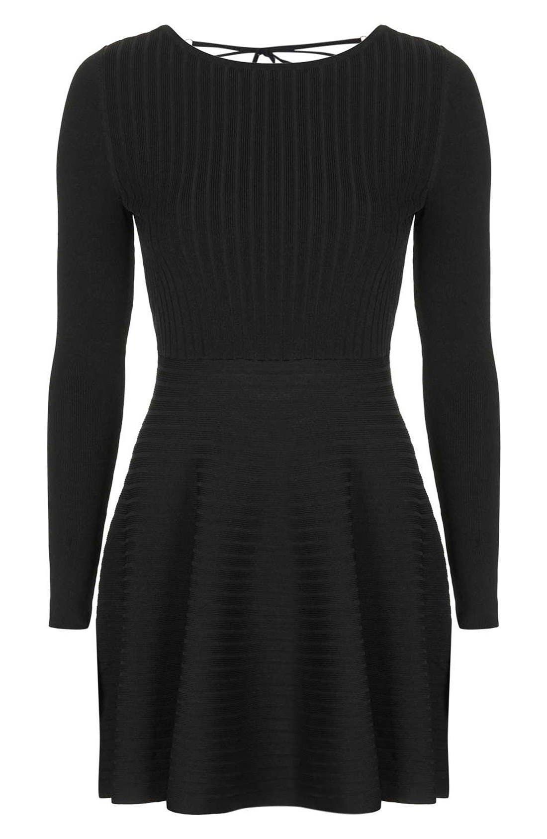Alternate Image 4  - Topshop Ribbed Skater Dress with Lace-Up Back
