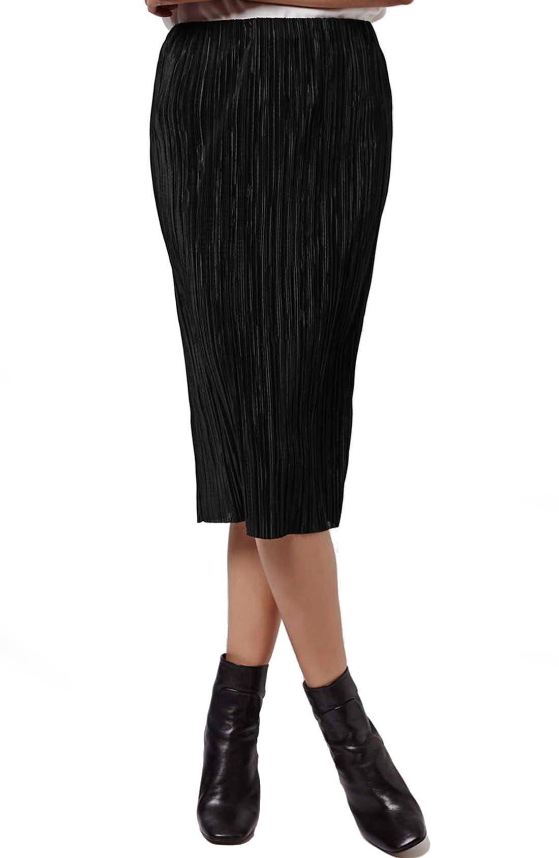 Alternate Image 1 Selected - Topshop Plissé Tube Skirt