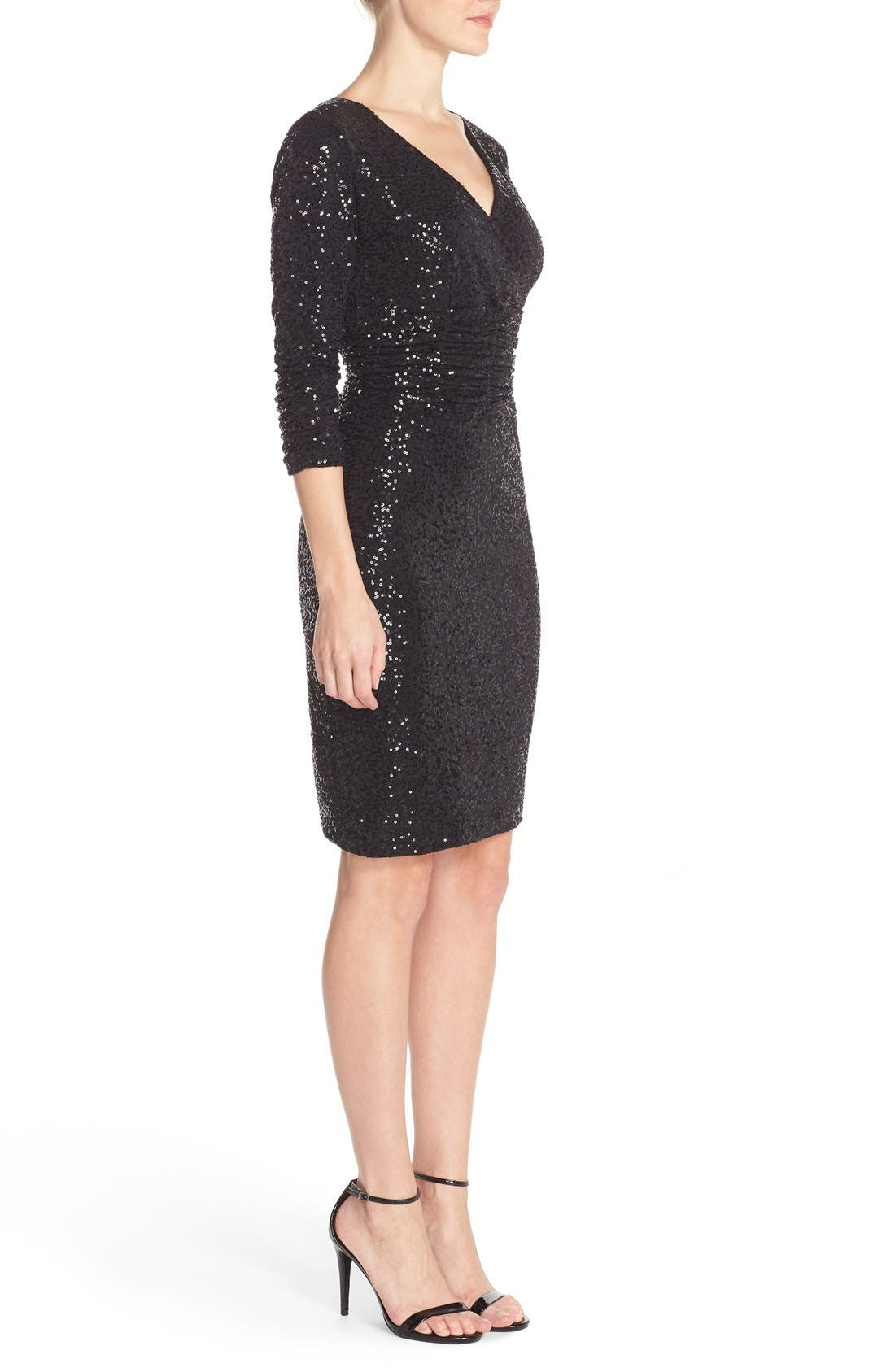 Alternate Image 3  - Nue by Shani Ruched Sequin Sheath Dress