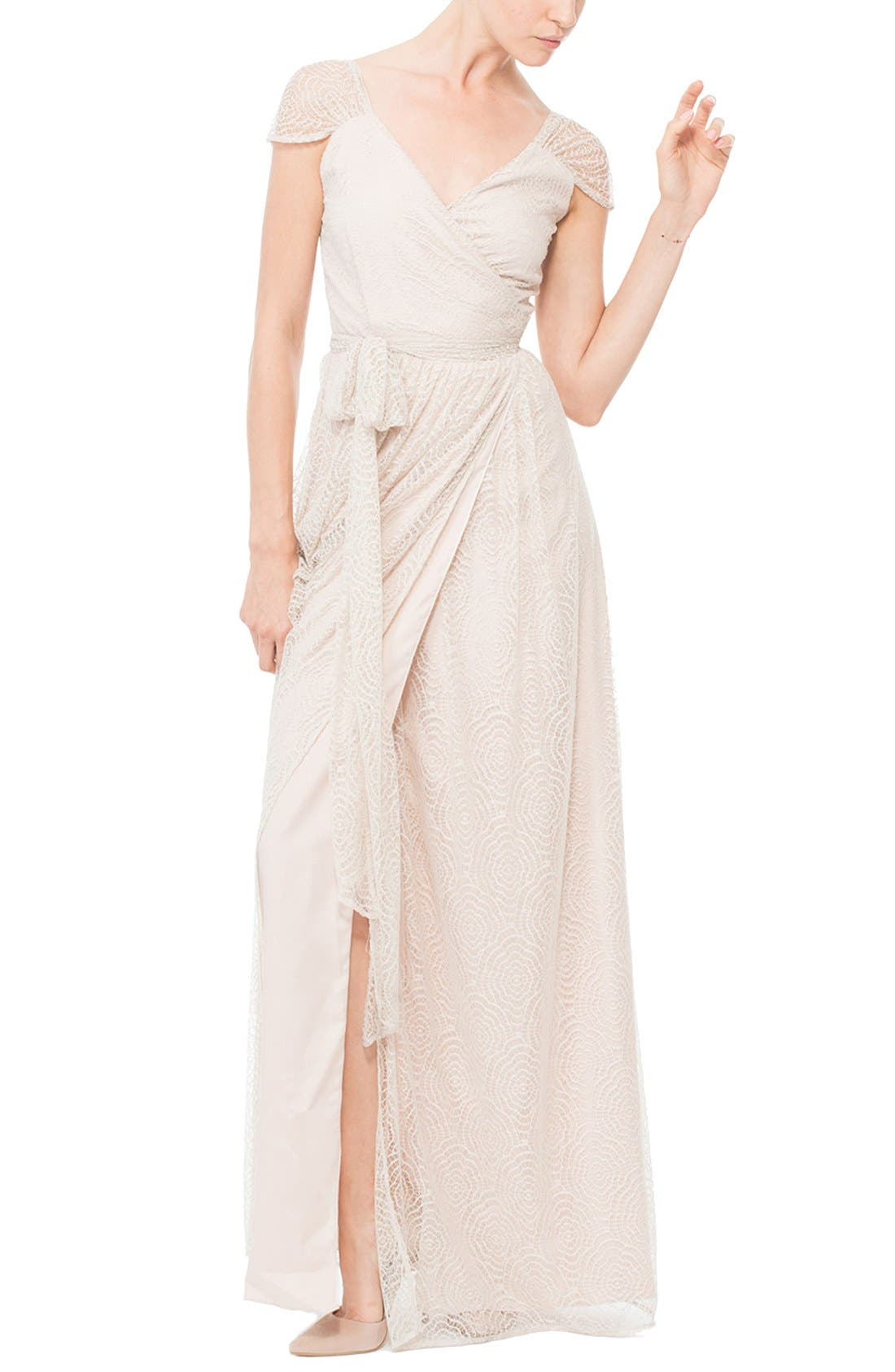 Ceremony by Joanna August 'Newbury' Gathered Sleeve Lace Wrap Gown