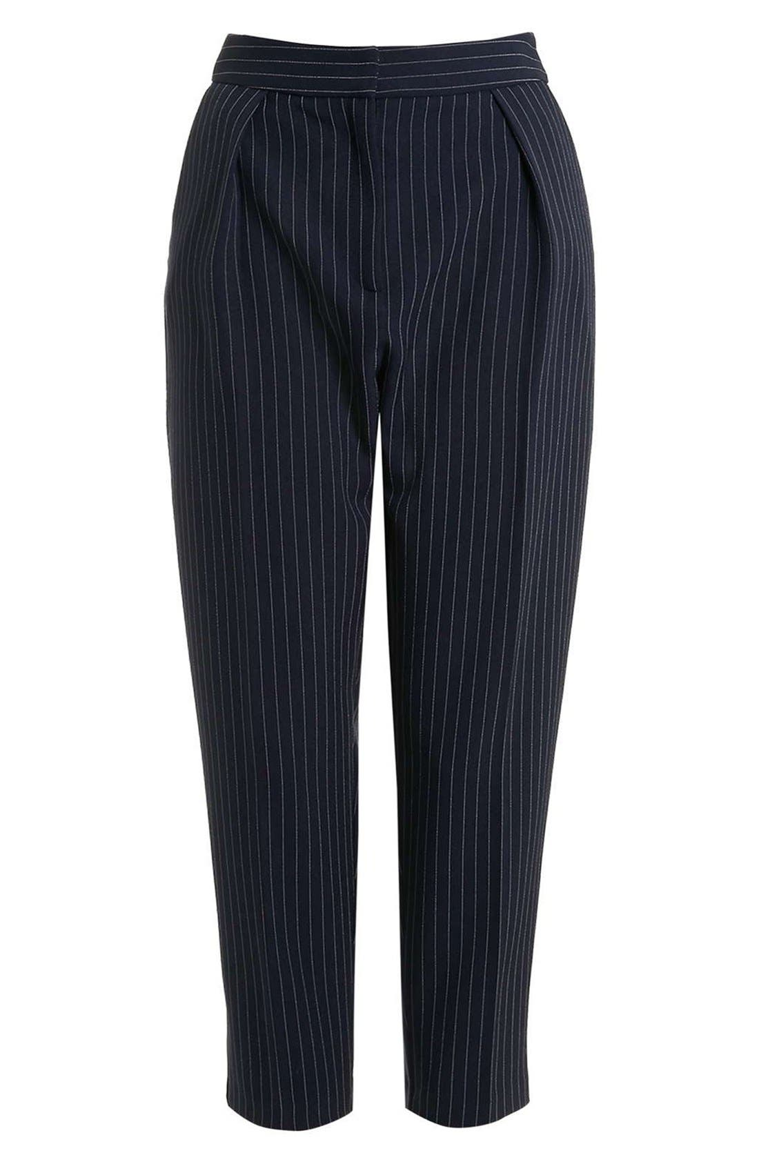 Alternate Image 4  - Topshop Pinstripe Crop Trousers (Petite)