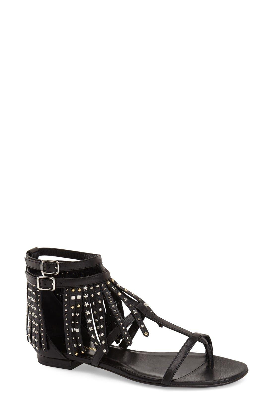 Main Image - Saint Laurent 'Nu' Studded Fringe Sandal (Women)