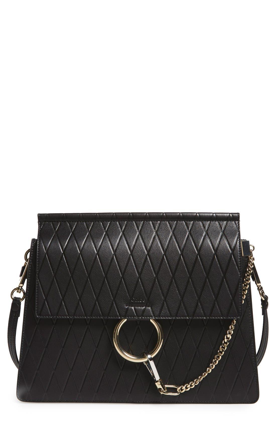 Main Image - Chloé 'Medium Faye' Diamond Embossed Leather Shoulder Bag