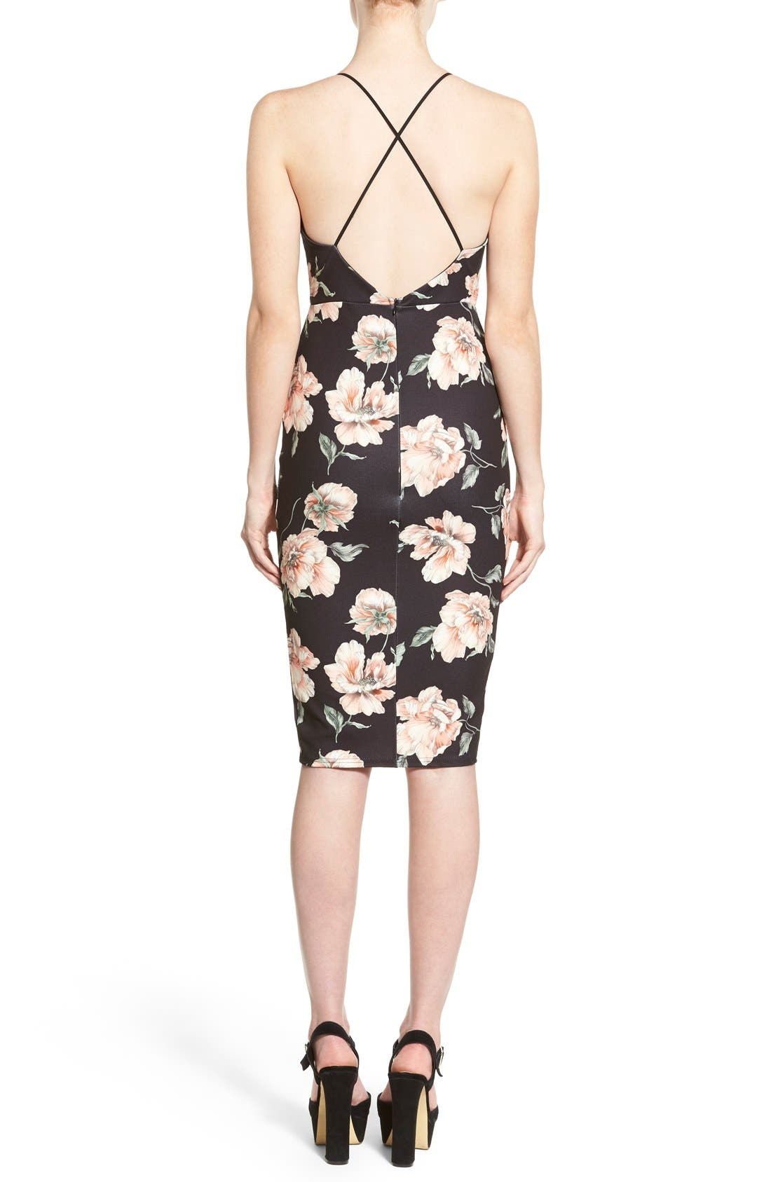 Alternate Image 2  - Missguided Floral Print Plunge Body-Con Dress