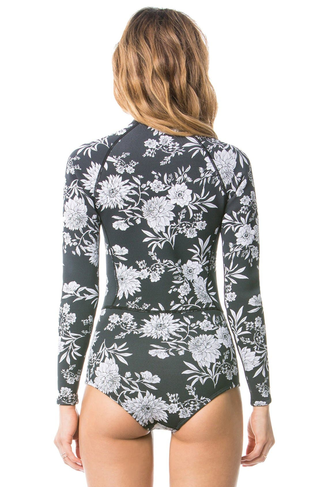 Alternate Image 3  - Amuse Society 'Makala' Floral Print Long Sleeve One-Piece Swimsuit