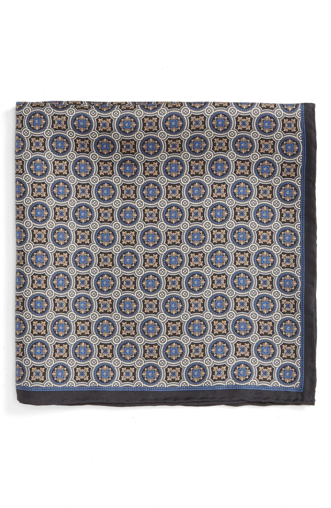 ROBERT TALBOTT Medallion Silk Pocket Square