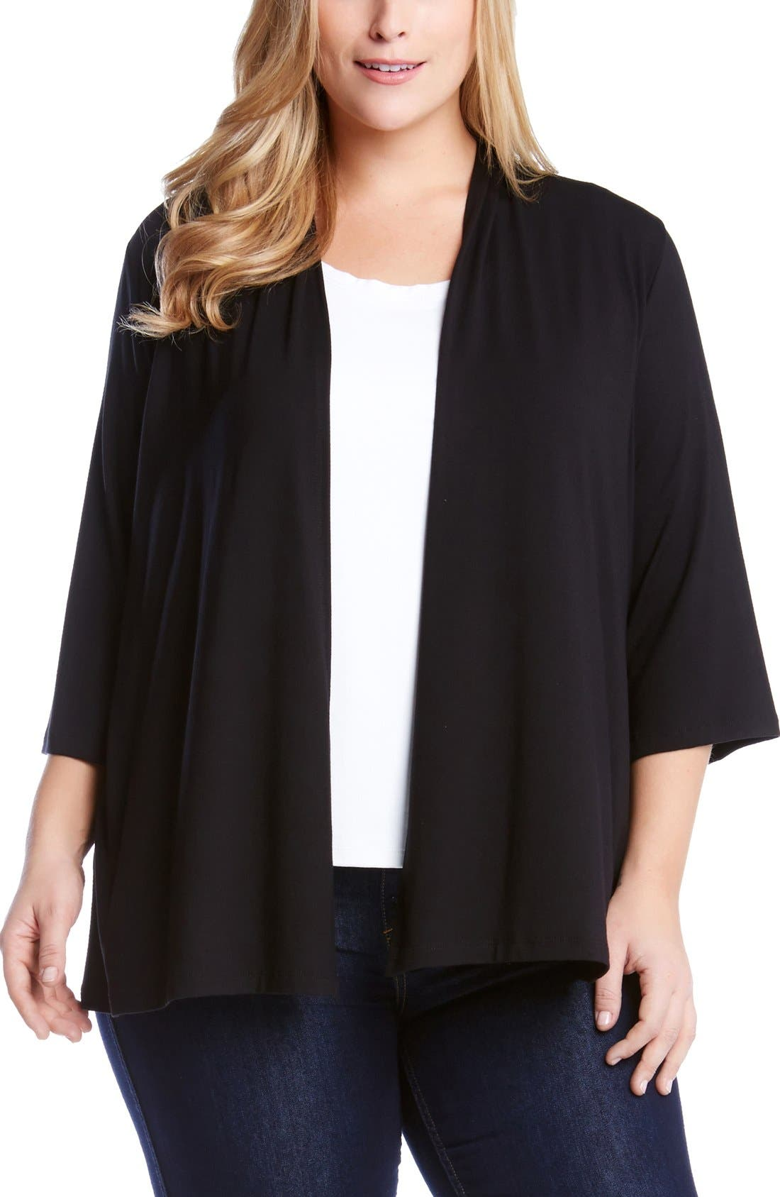 Karen Kane 'Molly' Open Jersey Cardigan (Plus Size)