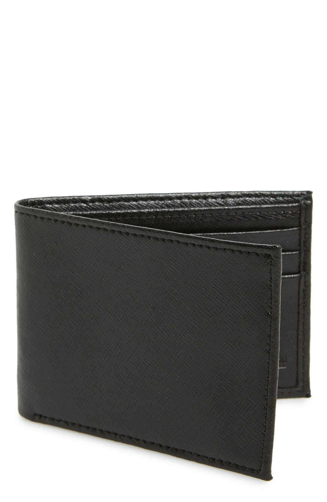 Main Image - Nordstrom Men's Shop Large Saffiano Leather Bifold Wallet