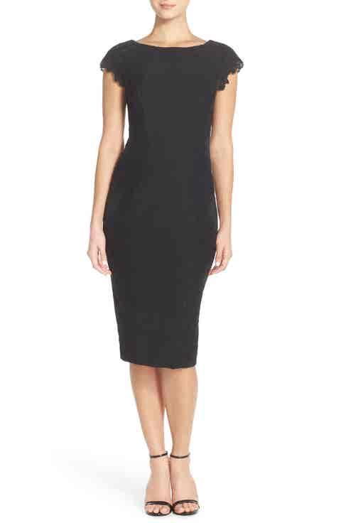 Maggy London Lace Detail Crepe Sheath Dress (Regular   Petite)