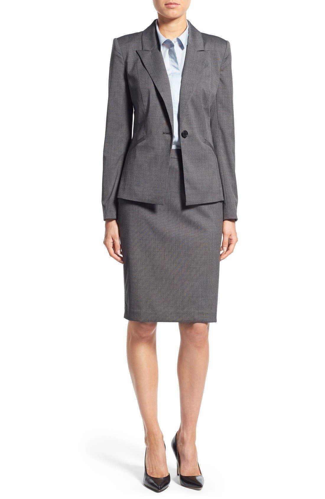 Alternate Image 2  - Halogen® 'Mini Grid' Stretch Suit Skirt (Regular & Petite)