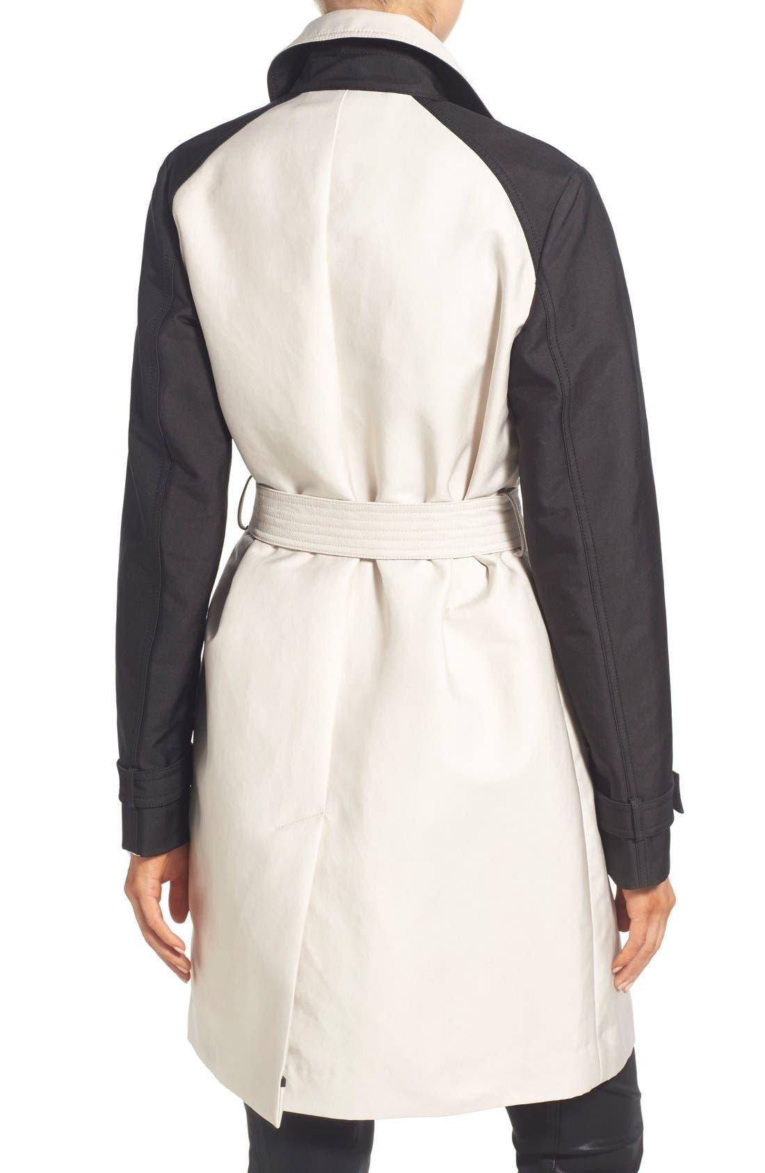 Alternate Image 2  - Vera Wang Contrast Sleeve Trench Coat