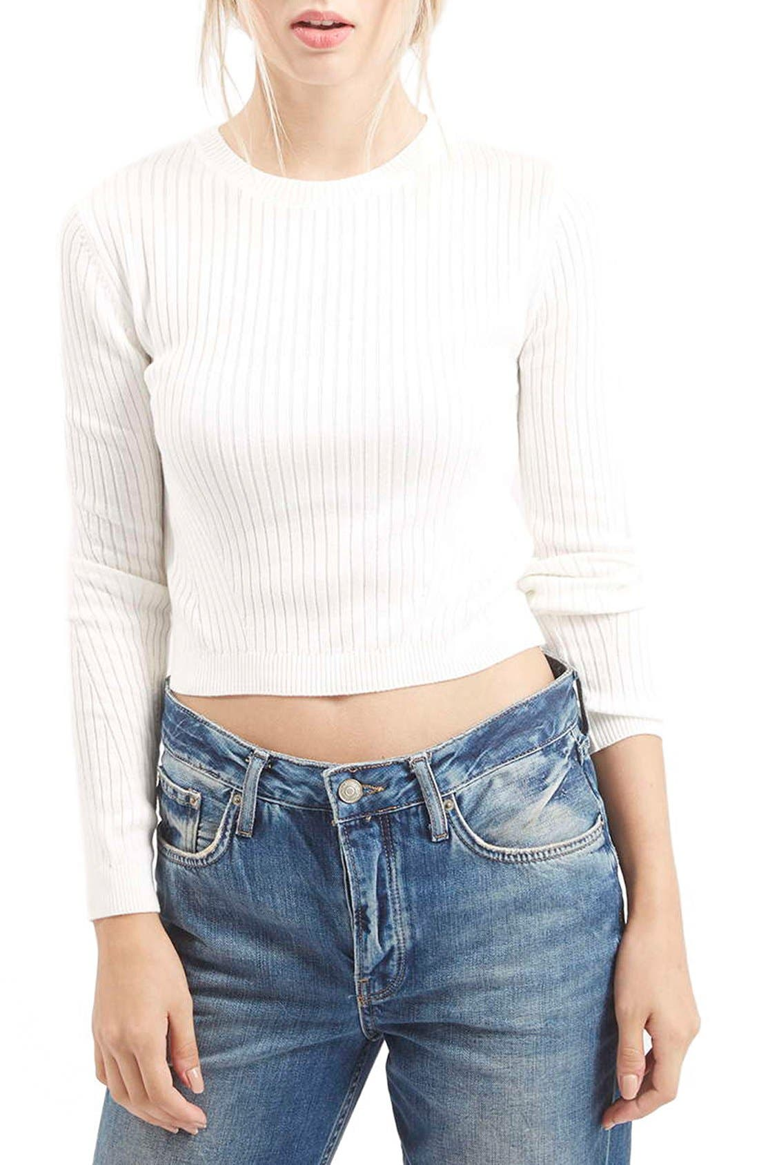 Alternate Image 1 Selected - Topshop Ribbed Long Sleeve Top (Petite)