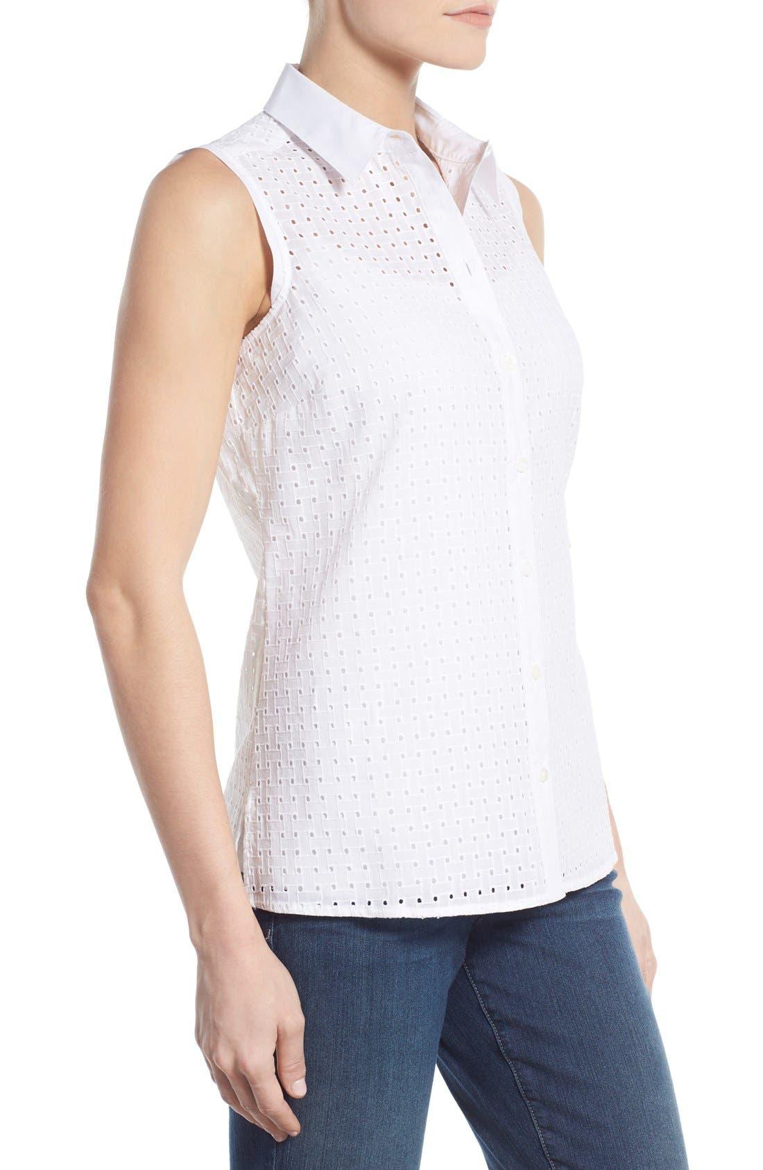 Alternate Image 3  - Foxcroft Basket Weave Eyelet Sleeveless Shirt
