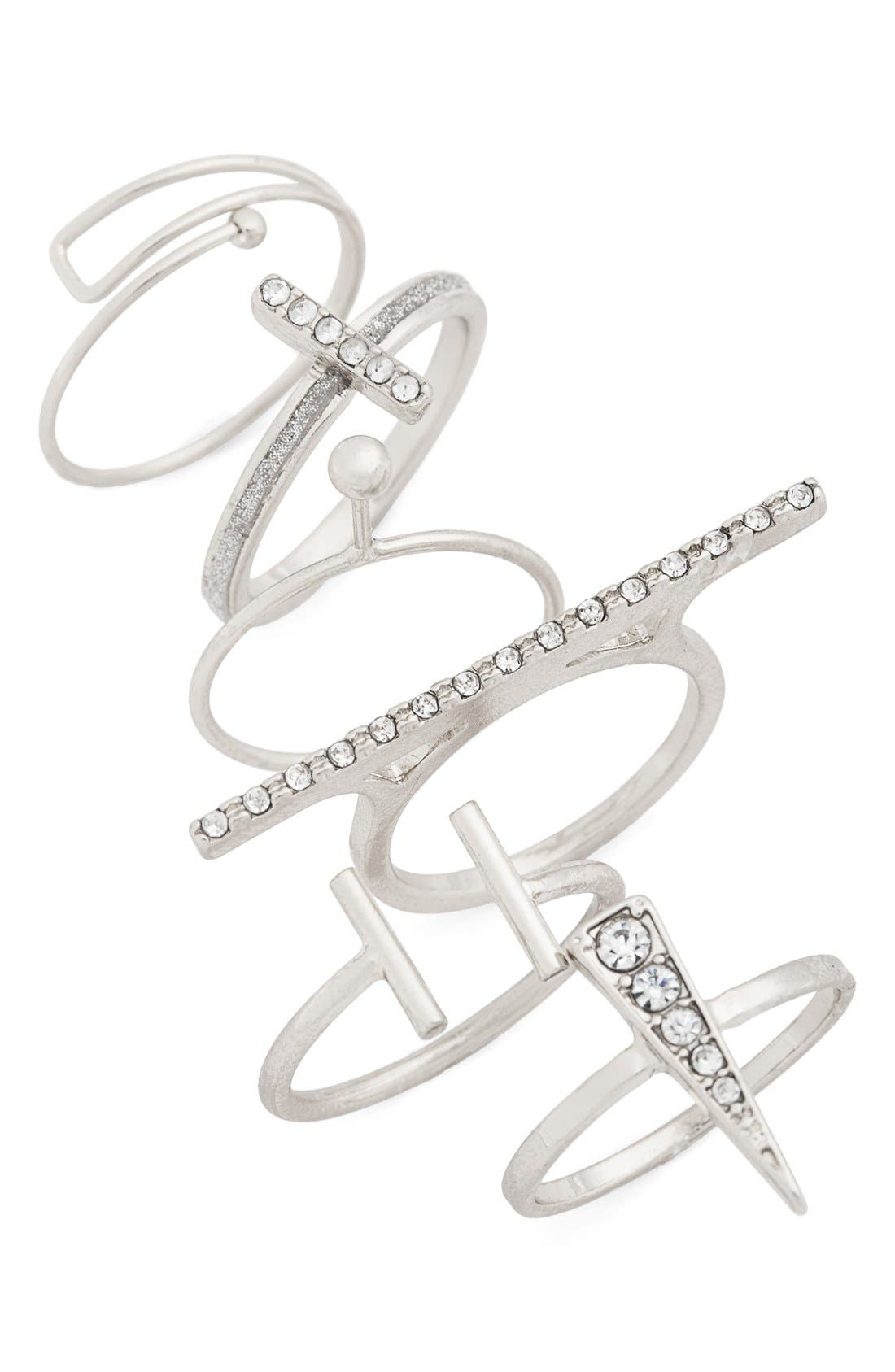 Alternate Image 2  - Topshop Rhinestone Layering Rings (Set of 6)