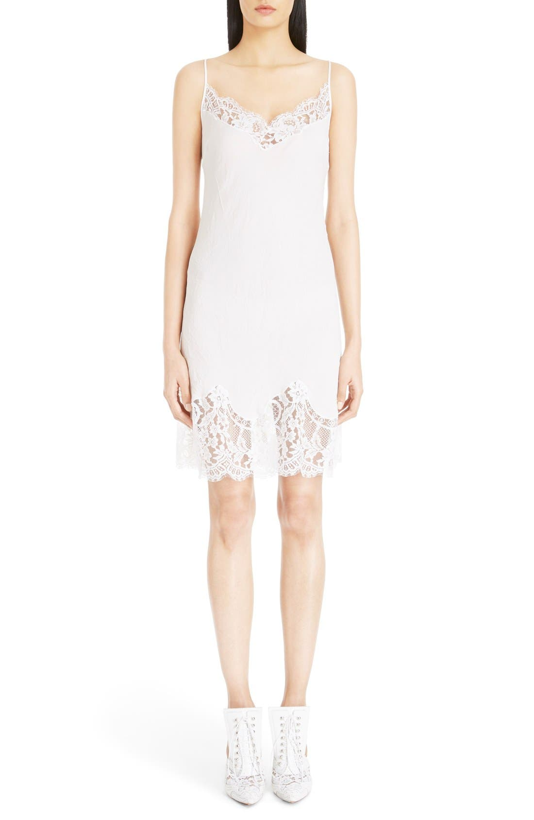 Main Image - Givenchy Lace Trim Silk Crepe Dress