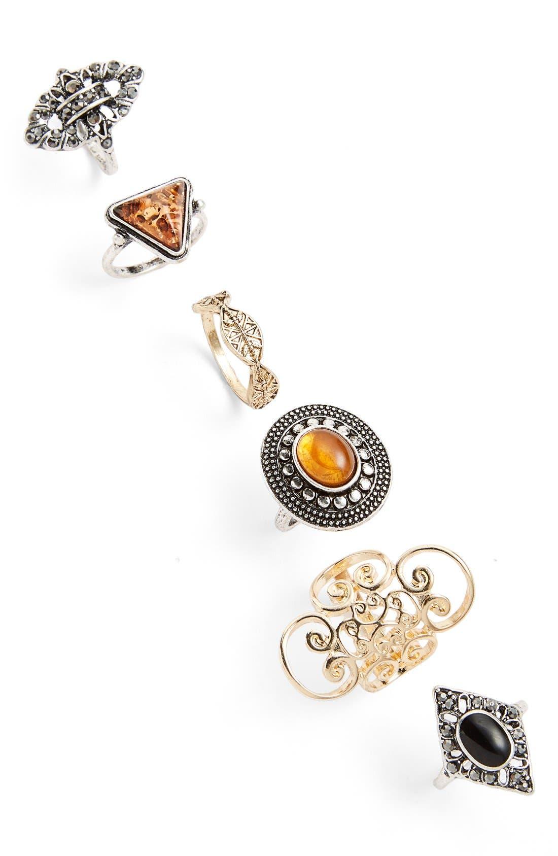 Main Image - Topshop 'Amber Look' Rings (Set of 6)