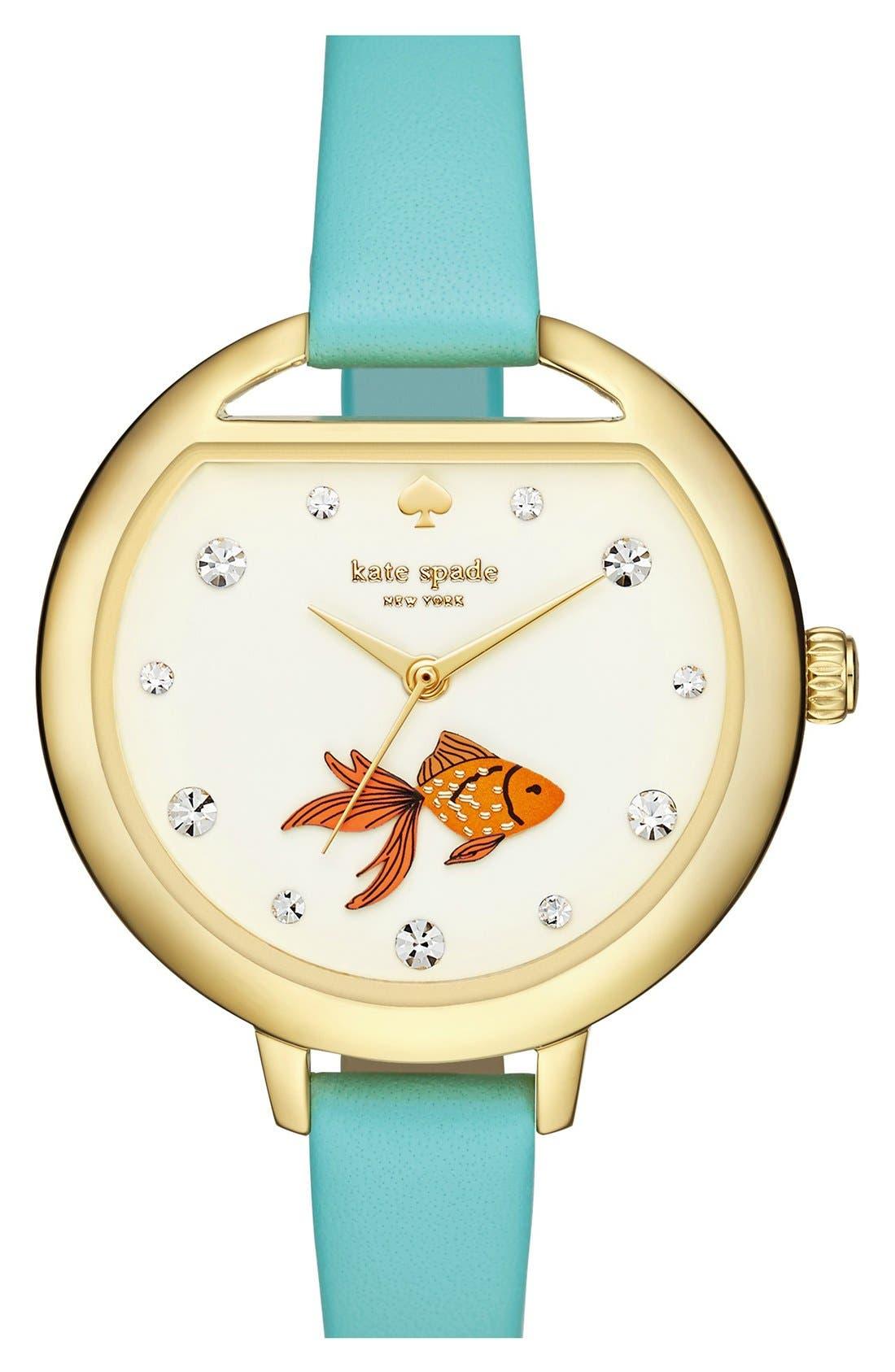 Alternate Image 1 Selected - kate spade new york 'metro - fishbowl' leather strap watch, 34mm