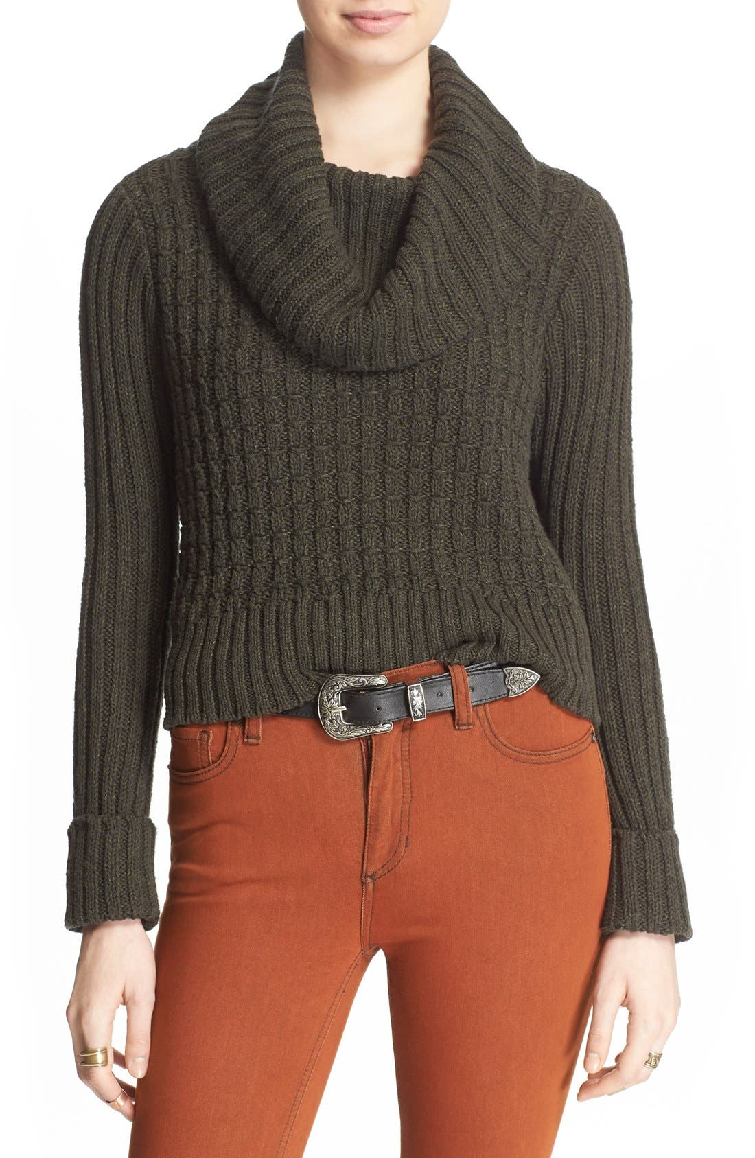 Alternate Image 1 Selected - Free People 'Twisted Cable' Turtleneck Sweater