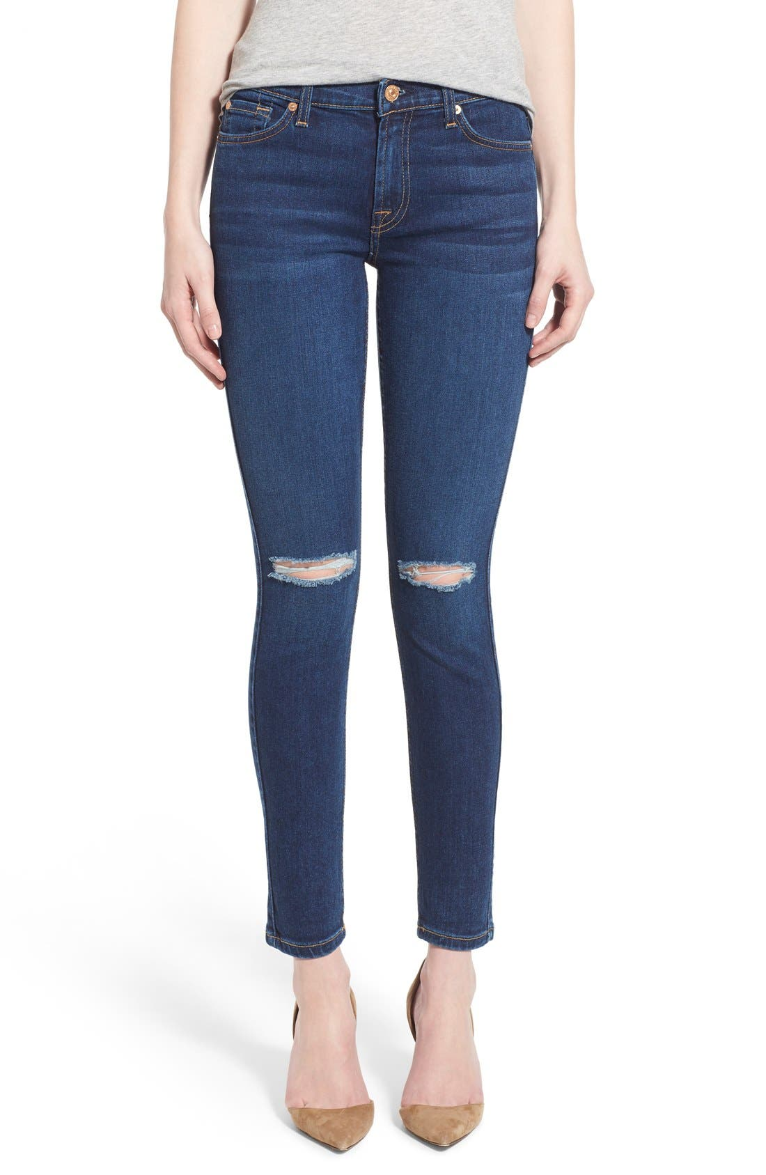 Alternate Image 1 Selected - 7 For All Mankind® Destroyed Ankle Skinny Jeans (Stunning Seville 2)