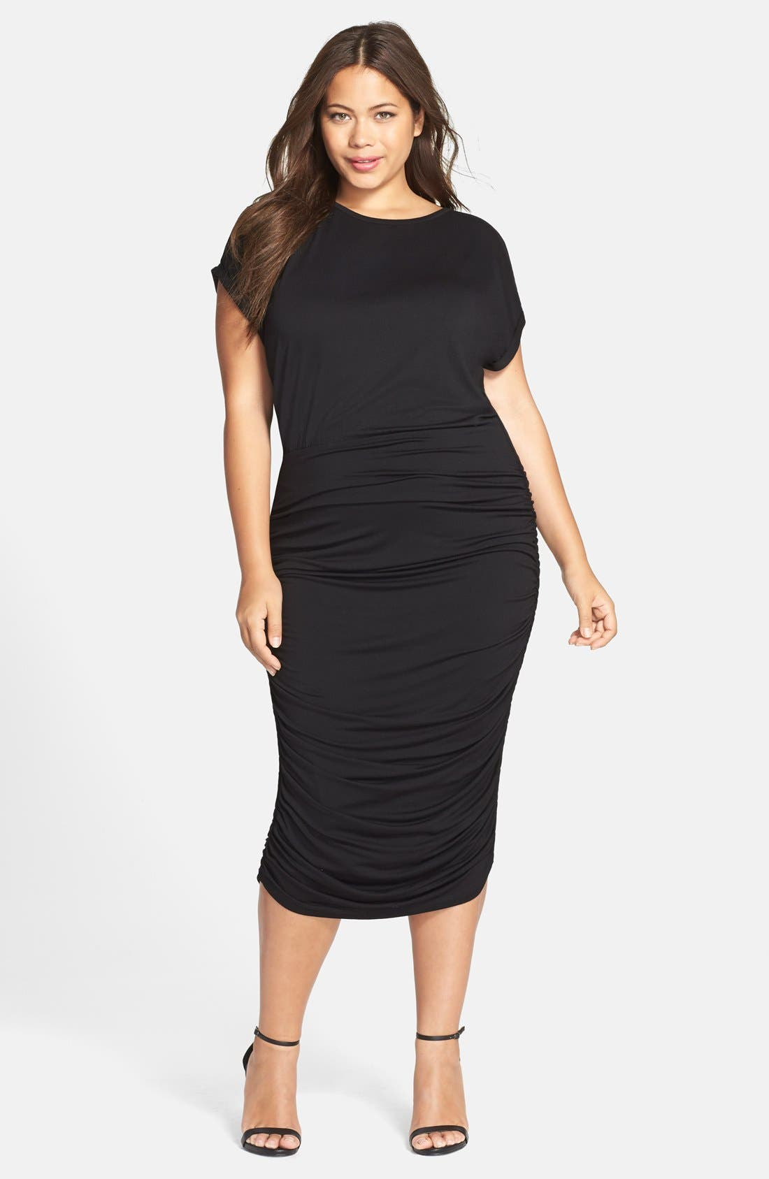 Alternate Image 1 Selected - Vince Camuto Side Ruched Jersey Midi Dress (Plus Size) (Nordstrom Exclusive)