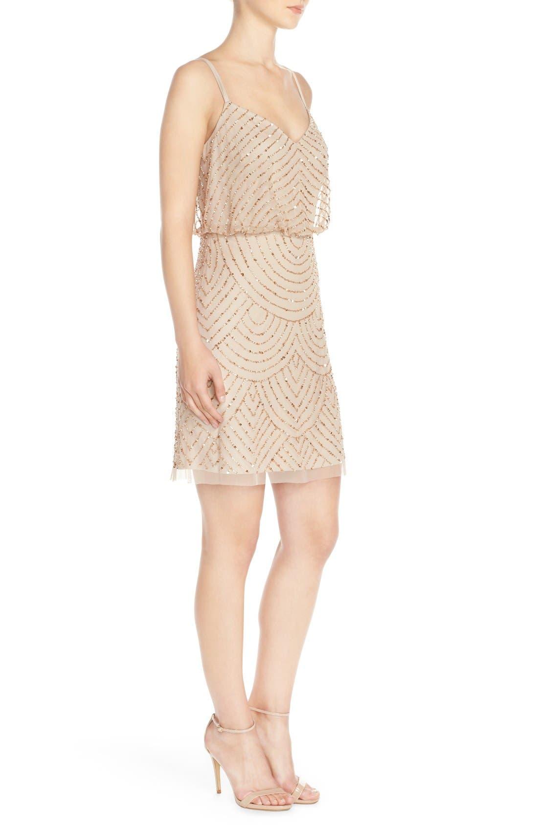 Alternate Image 3  - Adrianna Papell Sequin Mesh Blouson Dress