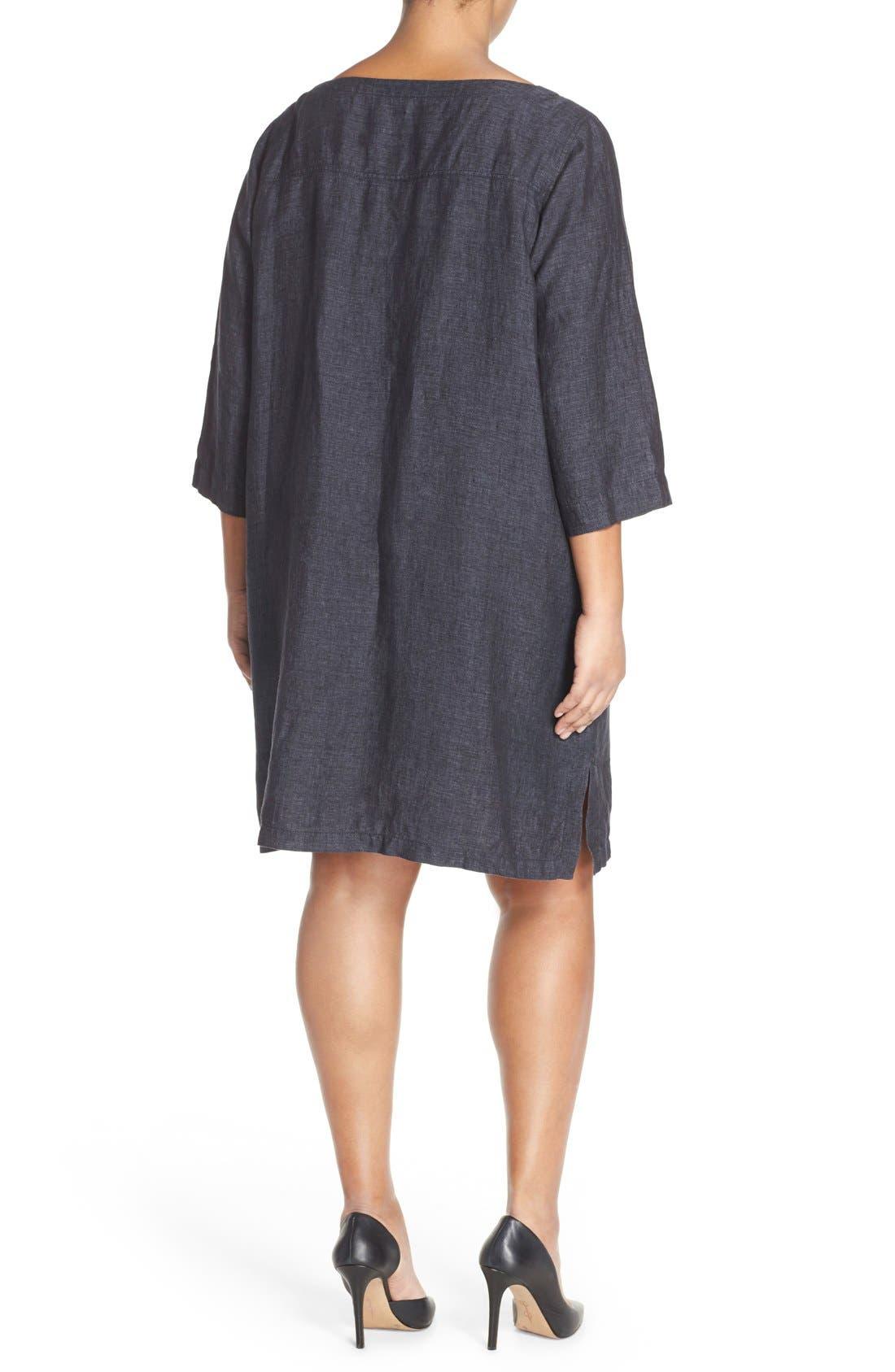 Alternate Image 2  - Eileen Fisher Organic Linen Bateau Neck Shift Dress (Plus Size)