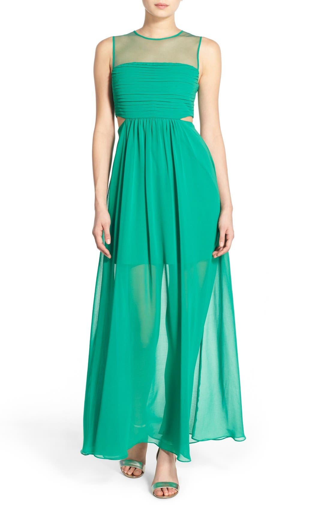 Alternate Image 1 Selected - Soloiste 'Jena' Illusion Yoke Maxi Dress