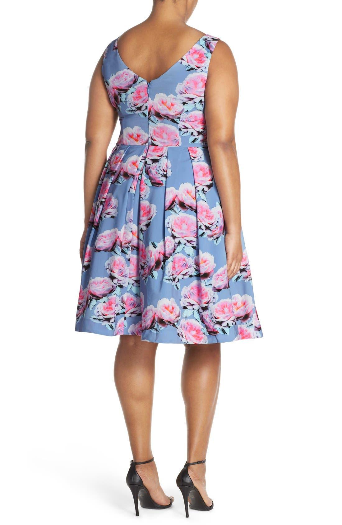 Alternate Image 3  - City Chic 'Powder Posey' Floral Print V-Neck Fit & Flare Dress (Plus Size)