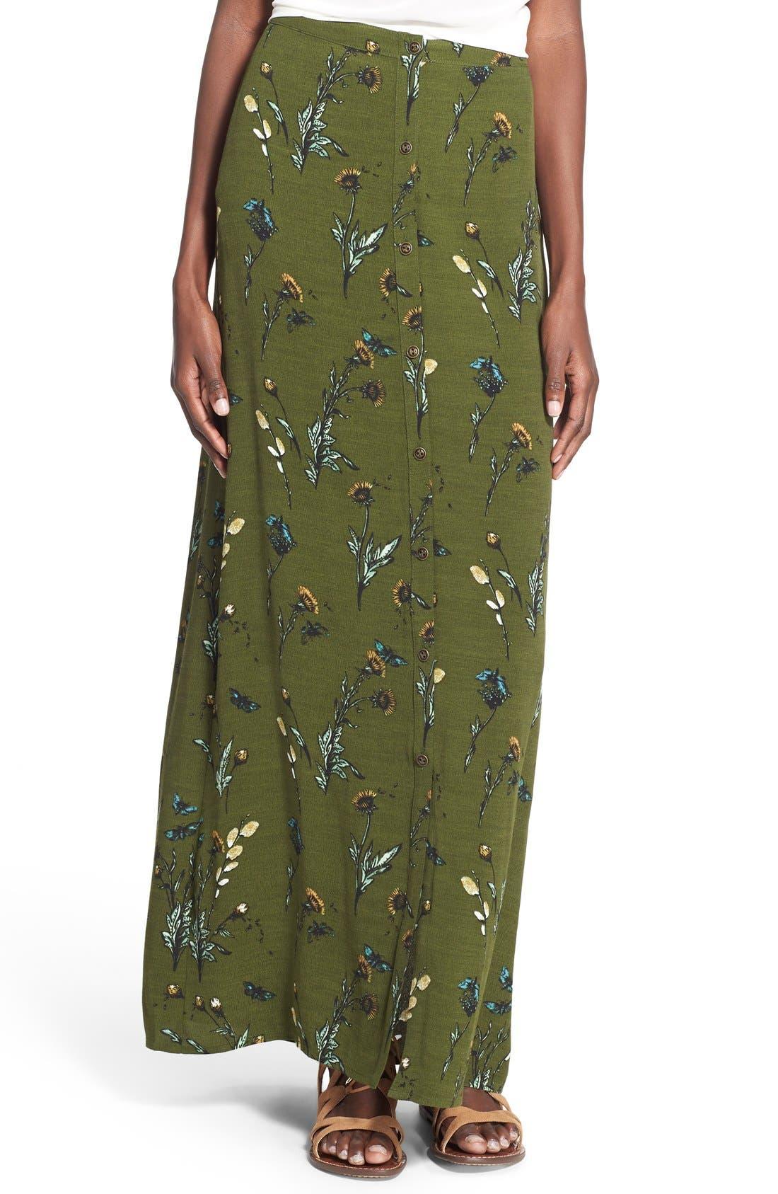 Alternate Image 1 Selected - Hinge Floral Print Maxi Skirt