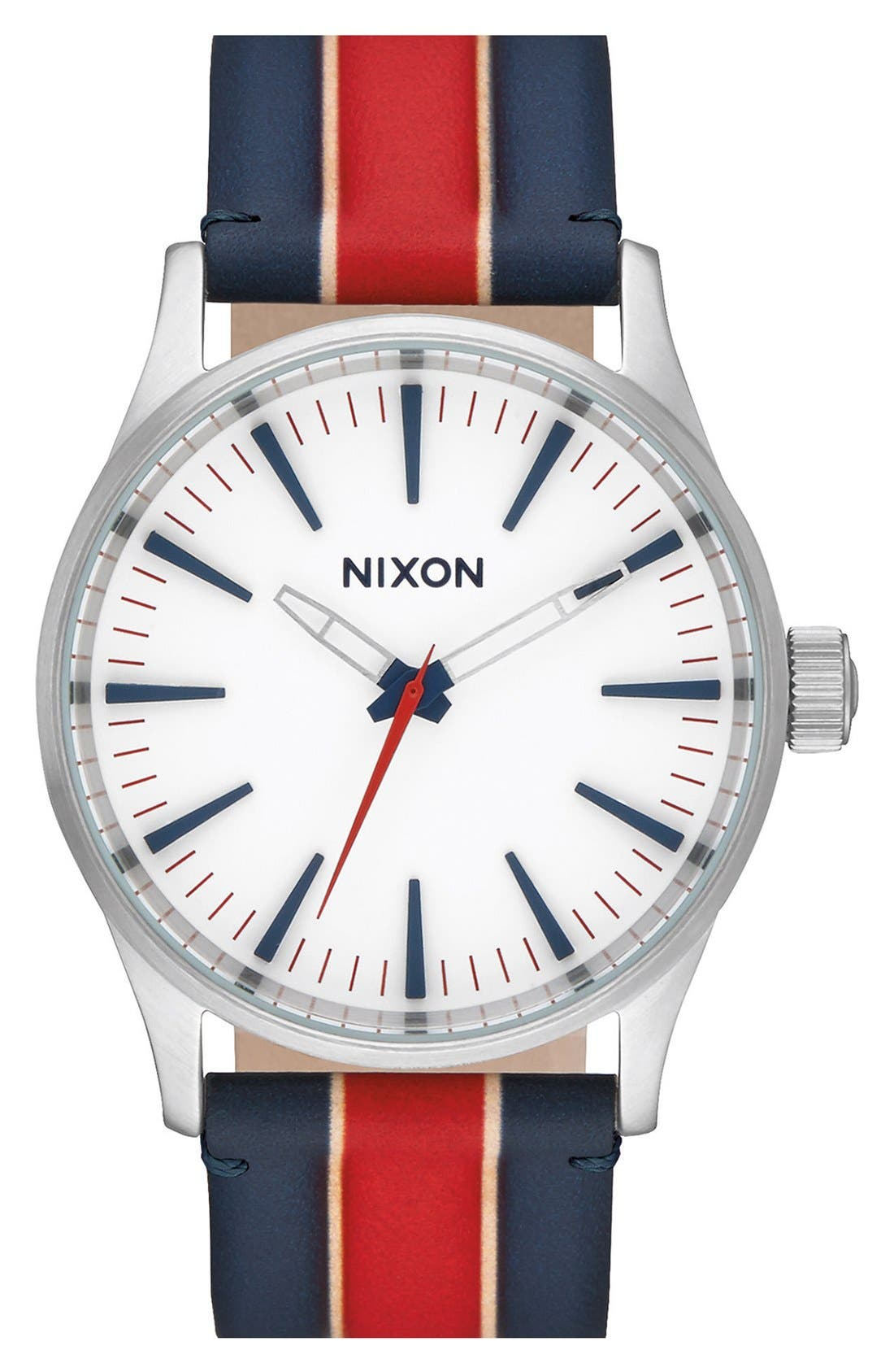 Nixon 'Sentry' Stripe Canvas Strap Watch, 38mm