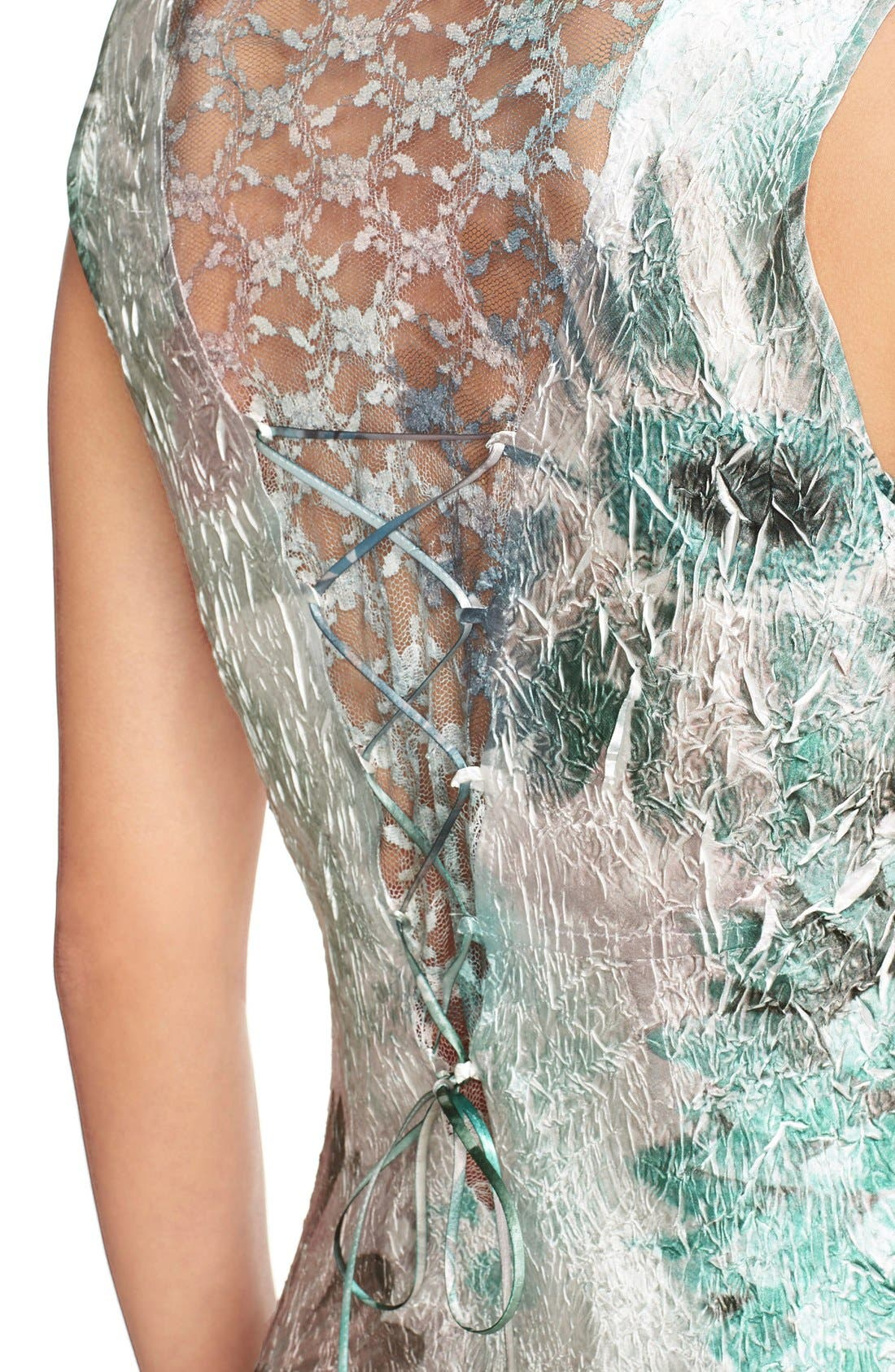 Alternate Image 4  - Komarov Corset Back Charmeuse Gown with Shawl (Regular & Petite)