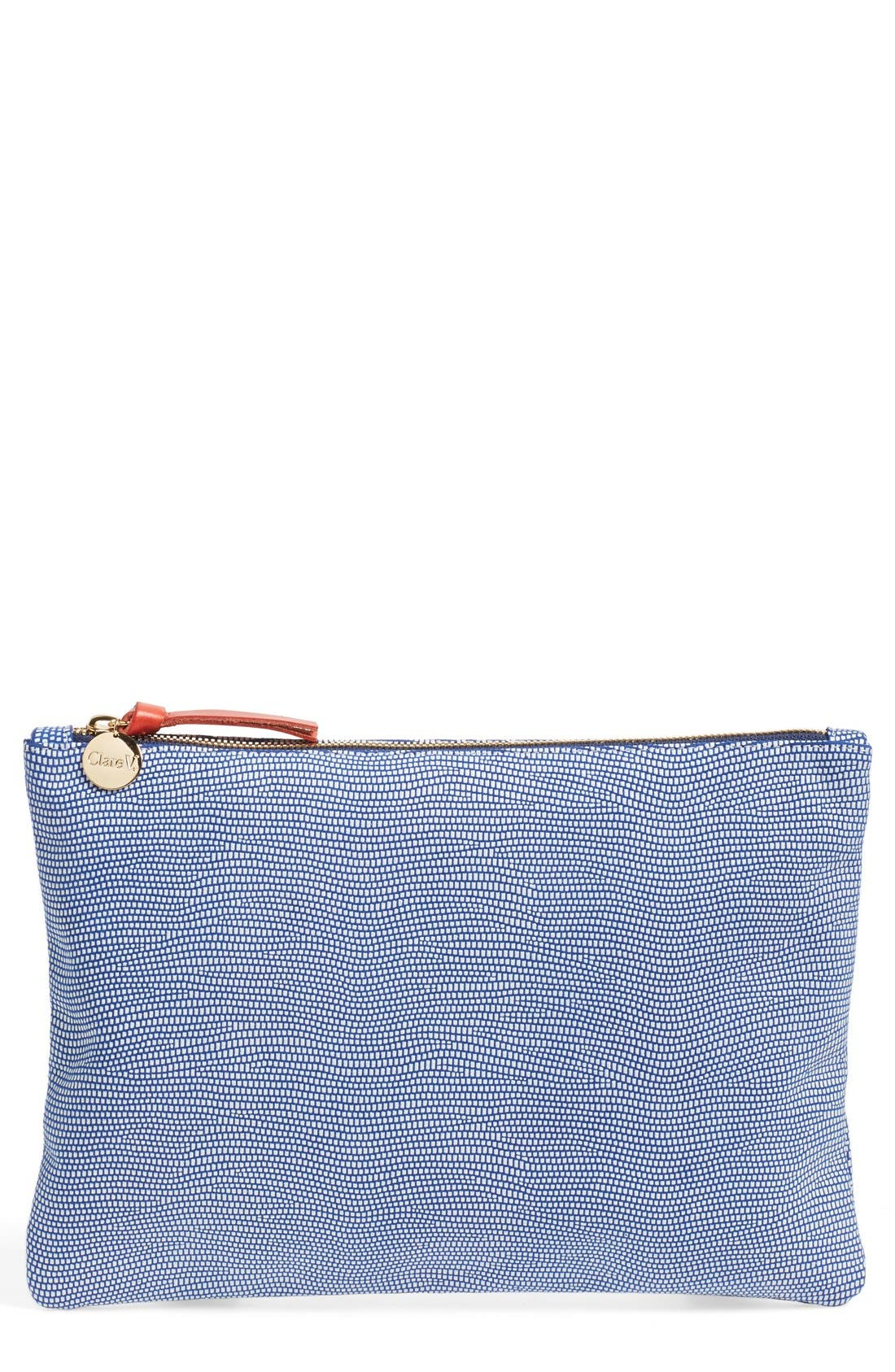 Alternate Image 1 Selected - Clare V. Lizard Embossed Leather Zip Clutch