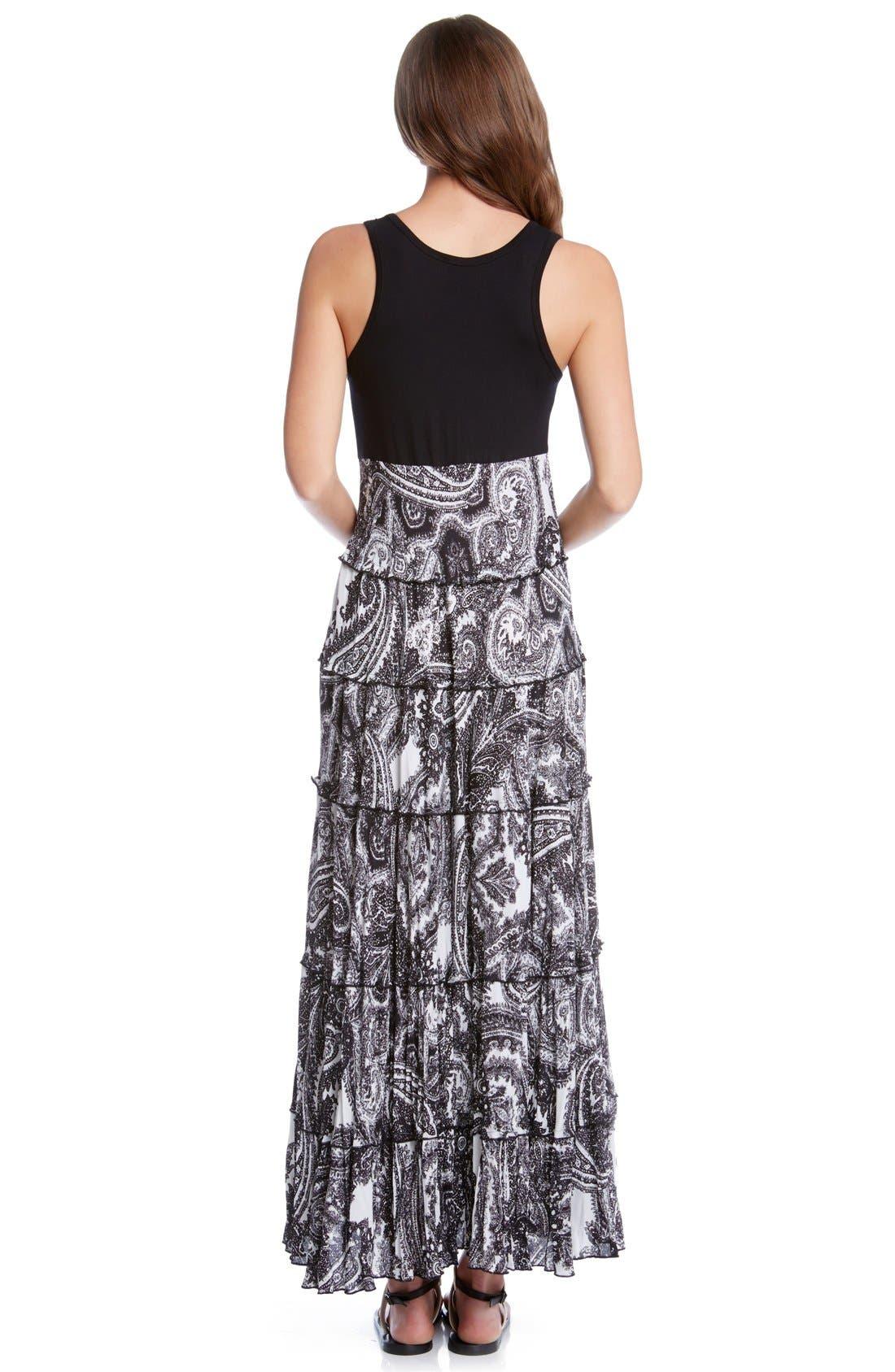 Alternate Image 2  - Karen Kane Paisley Print Mixed Media Tiered Maxi Dress