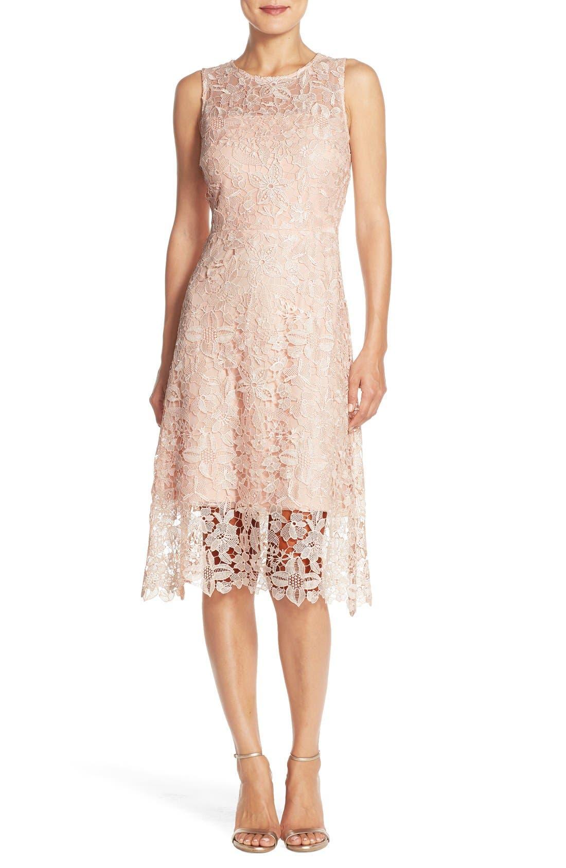 Main Image - Julia Jordan Floral Lace A-Line Dress
