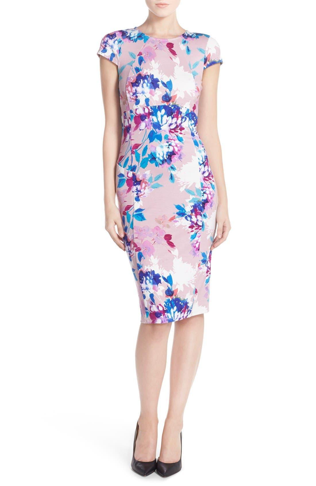 Alternate Image 4  - Felicity & Coco Floral Ponte Sheath Dress (Regular & Petite) (Nordstrom Exclusive)