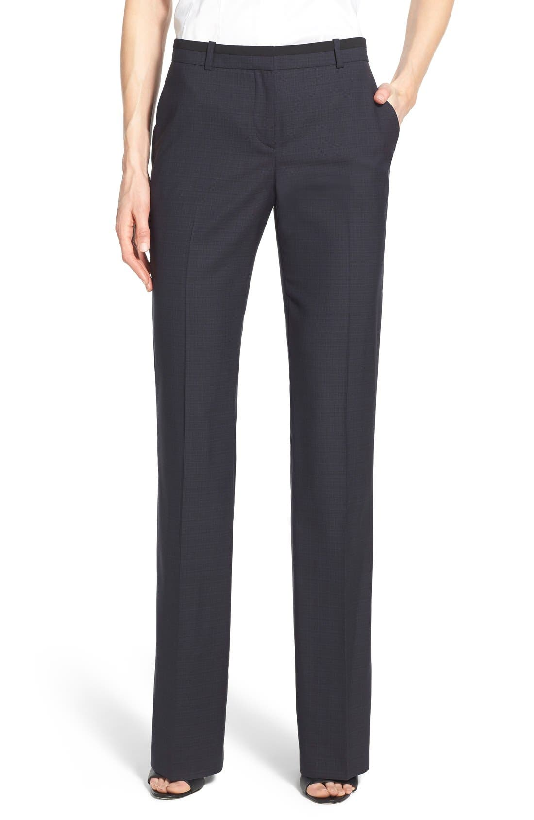 Alternate Image 1 Selected - BOSS 'Tulea' Plaid Stretch Wool Trousers