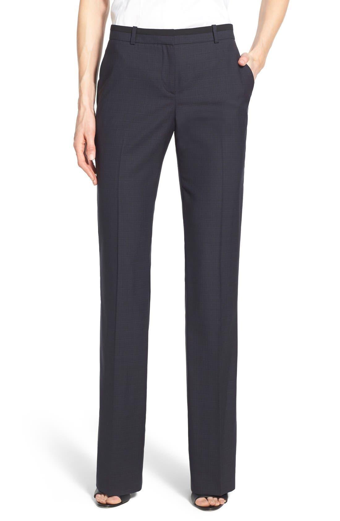 Main Image - BOSS 'Tulea' Plaid Stretch Wool Trousers