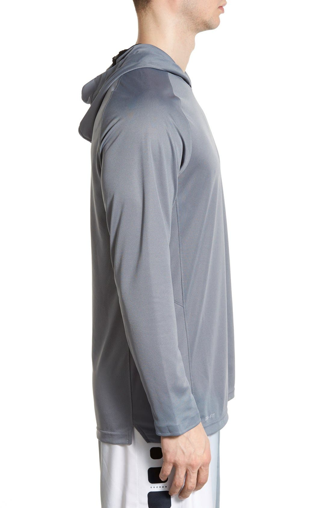 Alternate Image 3  - Nike 'Elite Shooter - Dri-FIT' Long Sleeve Hooded Basketball Shirt