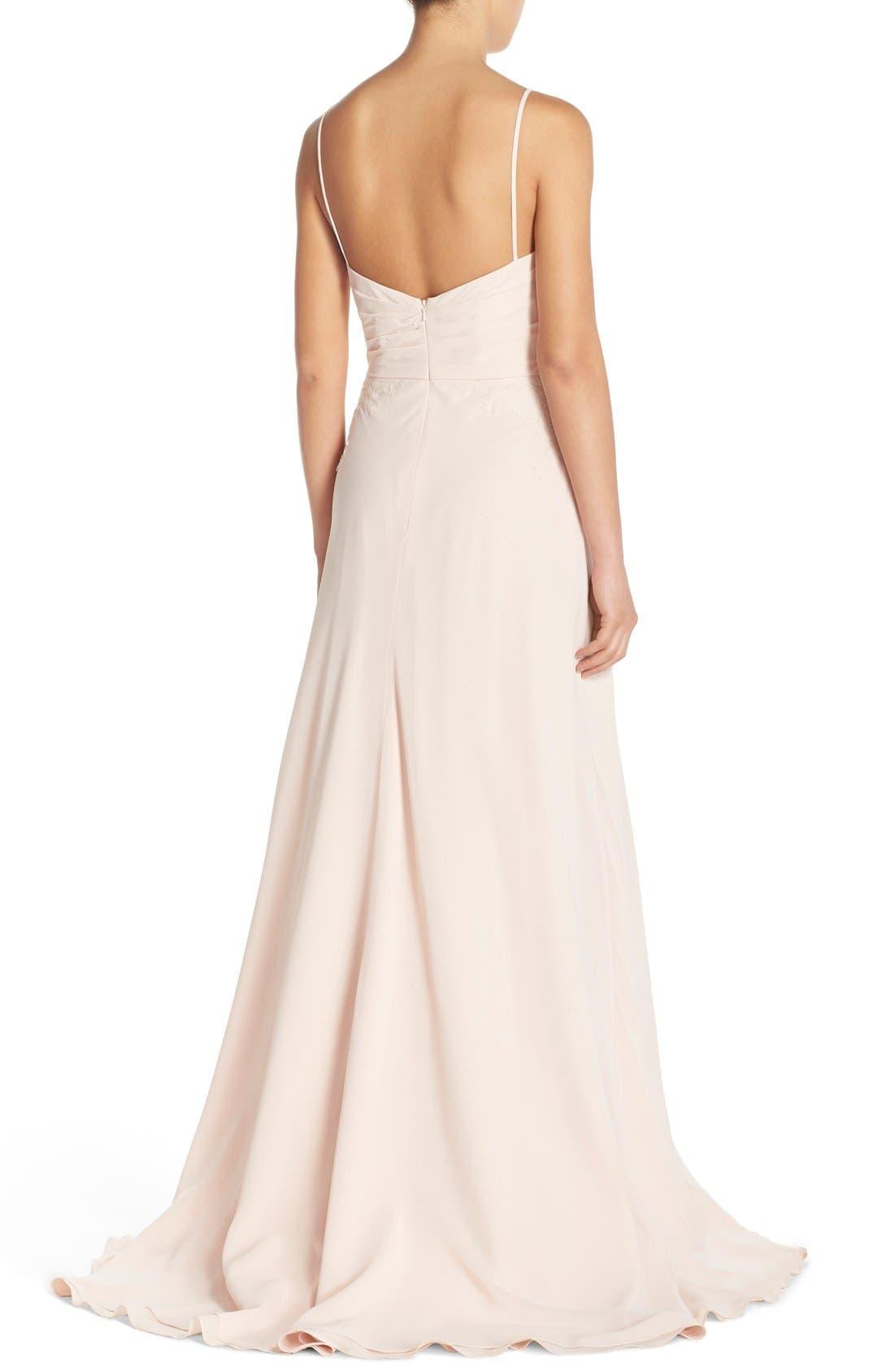 Alternate Image 2  - Monique Lhuillier Bridesmaids Lace Trim Chiffon Surplice Gown