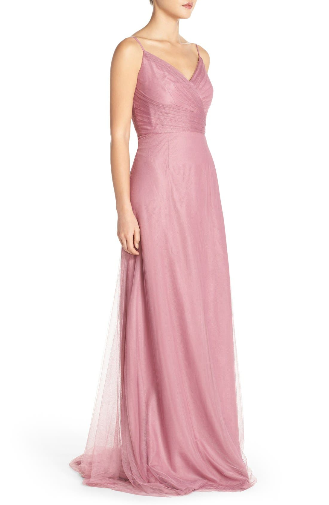 Alternate Image 3  - Monique Lhuillier Bridesmaids Surplice Tulle Gown